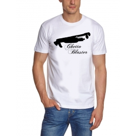 Shirt GHETTO action BLASTER PUMPGUN t-shirt weiss